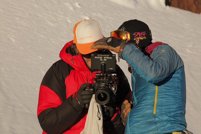Hilaree Oniel reviewing footage  - White Sail Peak Expedition.  Himichal India.